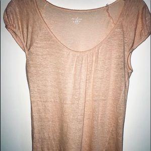 Loft light pink 100% linen cap-sleeve top size M